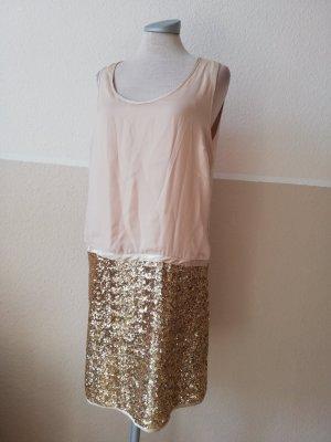 atmosphere Partykleid Paillettenkleid gold nude Gr. UK 12 EUR 40 D 38 S M Satin Minikleid