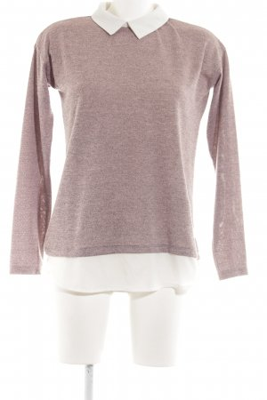 Atmosphere Kraagloze sweater roze-wit casual uitstraling