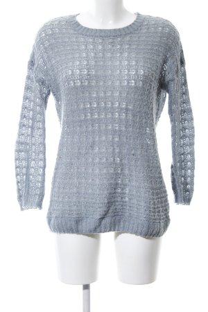 Atmosphere Pull tricoté bleu Motif de tissage style décontracté
