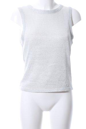 Atmosphere Top lavorato a maglia bianco-argento puntinato elegante