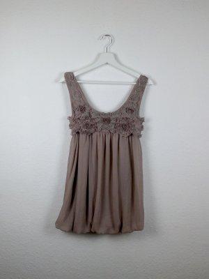atmosphere top shirt tunika M L 40 -NEU- nude beige rosen bestickt