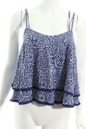 Atmosphere Trägertop dunkelblau-weiß abstraktes Muster Gypsy-Look