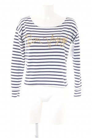 Atmosphere Boatneck Shirt white-dark blue striped pattern navy look