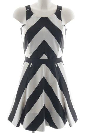 Atos Lombardini A-lijn jurk zwart-wit gestreept patroon elegant
