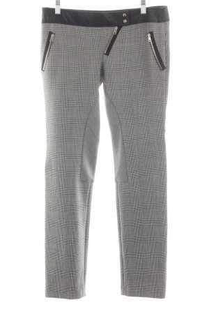 Atos Lombardini Riding Trousers light grey-black check pattern business style