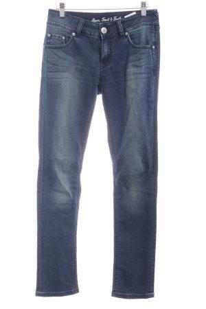 ATT Jeans Röhrenjeans dunkelblau Washed-Optik