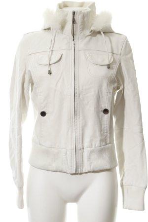 Attentif Giacca in pelle bianco-argento accessori in pelliccia
