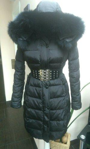 Attentif Manteau en duvet noir tissu mixte