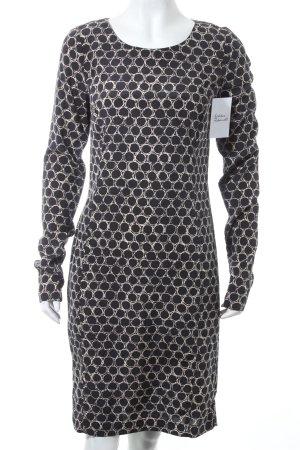 Attic & Barn Kleid dunkelblau-hellbeige grafisches Muster klassischer Stil