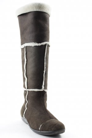 Attilio giusti leombruni Stivale in pelliccia marrone-bianco sporco stile casual