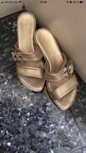 Attilio giusti leombruni Sandales à plateforme doré cuir