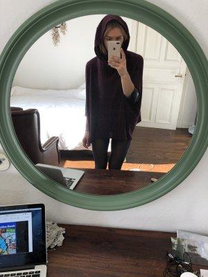 Aubergine dunkelroter Pullover weit Poncho Rotkäppchen kaputze leder schwarz  Cape Wasserfall / weiter Kragen Trend Festival herbst