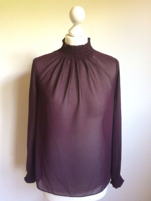 Auberginefarbene hochgeschlossene Bluse New Look neu