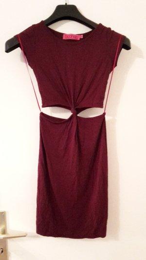 Auberginefarbenes Kleid mit Cut-Outs an der Taille/ Hüfte
