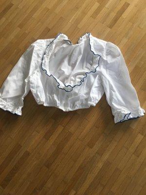 Folkloristische blouse wit-donkerblauw