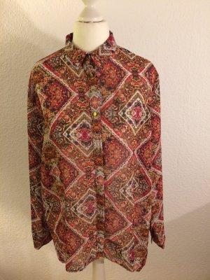 Auffällige Bluse in warmen Farben | leicht transparent