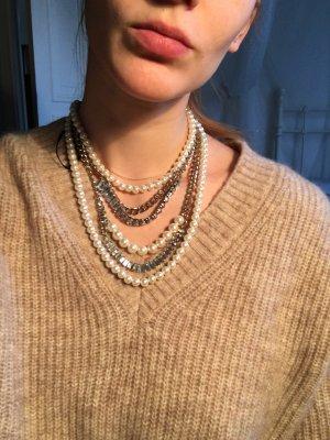 Auffällige große  Kette Gold Perlen Strass Glitzer