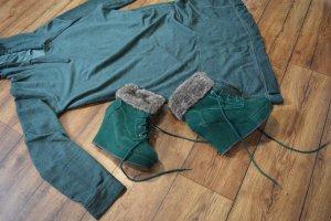 Auffällige Keilabsatz Stiefelette für den Winter grün Jumex 39 Neuwertig