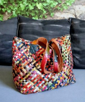 Shopper multicolore cuir
