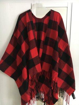 Auffälliger Poncho Rot Schwarz Karo It Piece XL Tuch