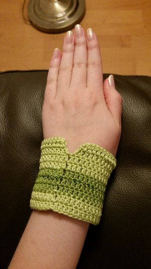 Fingerless Gloves green-pale green cotton