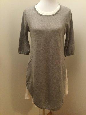 Parenti's Vestido de lana gris claro-blanco
