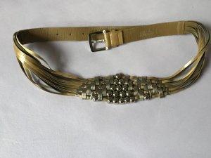 Cinturón de cuero de imitación camel-gris claro Imitación de cuero