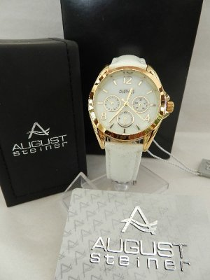 Watch With Leather Strap gold-colored-white stainless steel