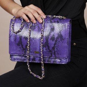 AURELIE Abendtasche aus veganem Leder in Schlangenoptik Lila Handtasche Tasche