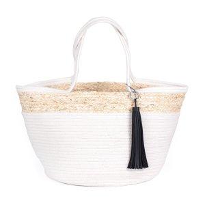 Bolso tipo cesta blanco-crema Algodón