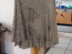 Wool Skirt olive green-sand brown wool