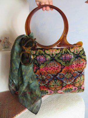 Vintage Sac de cadre de vélo multicolore fibre textile