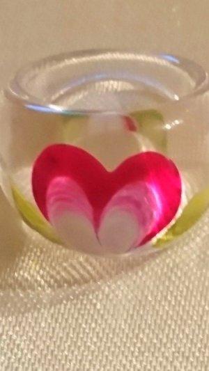 Ausgefallene Acryl Ring Gr. 17 mit Blume-Handarbeit-UNIKAT
