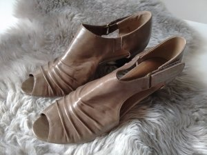 ausgefallene Ankle Boots/Peeptoe in taupe