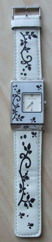 Ausgefallene Armbanduhr - florales Design - schwarz-weiß