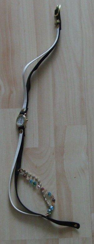 Ausgefallene Armbanduhr – Wickelband mit Kristallen