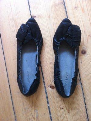 Ausgefallene Ballerinas schwarz mit extravaganter Verzierung Gr. 37