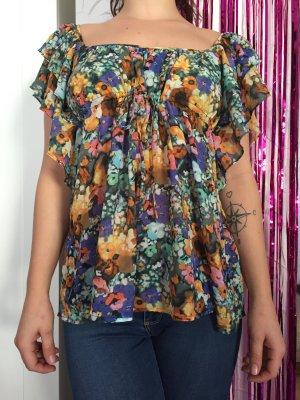 Ausgefallene Bluse mit Blumenmuster