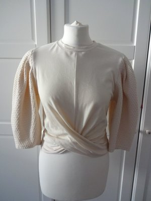 Mango Wraparound Blouse natural white cotton