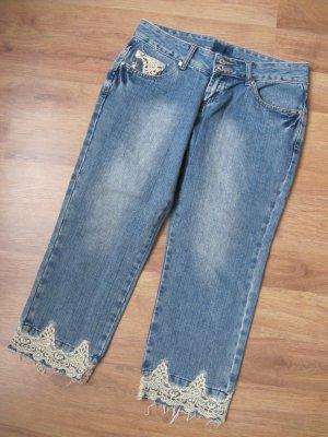 Jeans 3/4 bleu pâle coton
