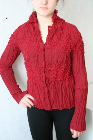 Blouse en crash rouge carmin polyester