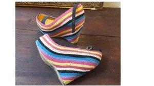 Ausgefallene Crazy und Wunderschönen Plateau Schuhe Sandalen Marke Fahrenheit Baumwolle geflochten USA US Größe 9,5 Größe DE ca 40,5