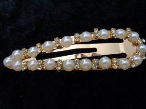 Ausgefallene Haarspange gold mit Perlen und Strass 8cm