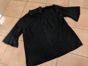 Ausgefallene Hemdbluse mit Trompetenärmel Gr. 48 schwarz