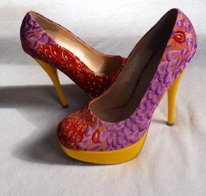Ausgefallene High-heels  gelb-pink