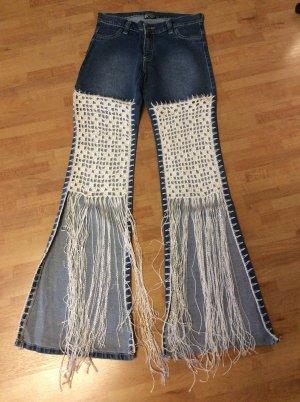 Ausgefallene Jeans mit Häkeldetails Gr 34 Festival, Sommerparty Blogger