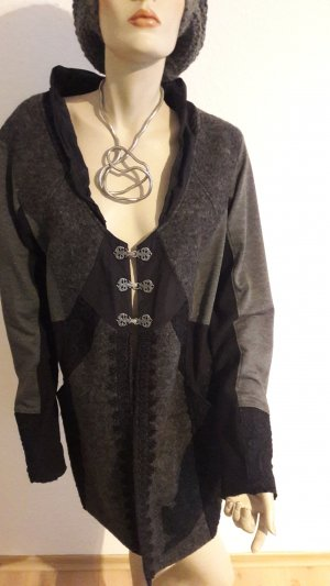 ausgefallene lange Jacke/Blazer, grau u.schwarz , Gr.42
