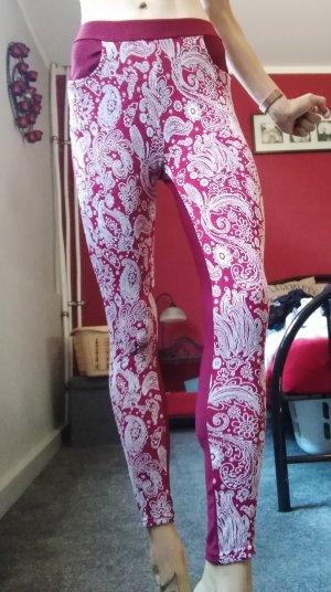Legging wit-magenta