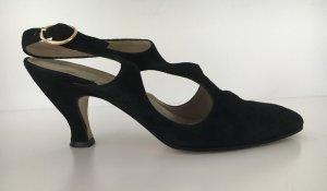 Sandales à talons hauts et lanière noir cuir