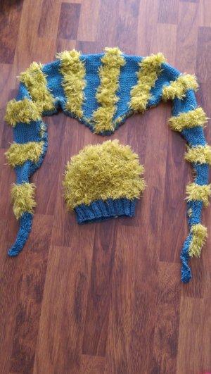 Écharpe en crochet jaune foncé-bleu acier